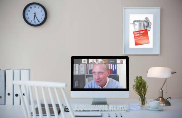 """Am Bildschirm: Online-Netzwerkveranstaltung """"Topf sucht Deckel"""""""