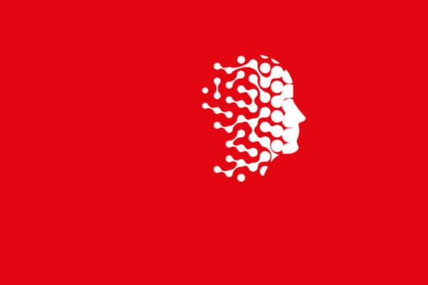 Weißer Kopf auf rotem Hintergrund - symbolisiert Digitalisierung