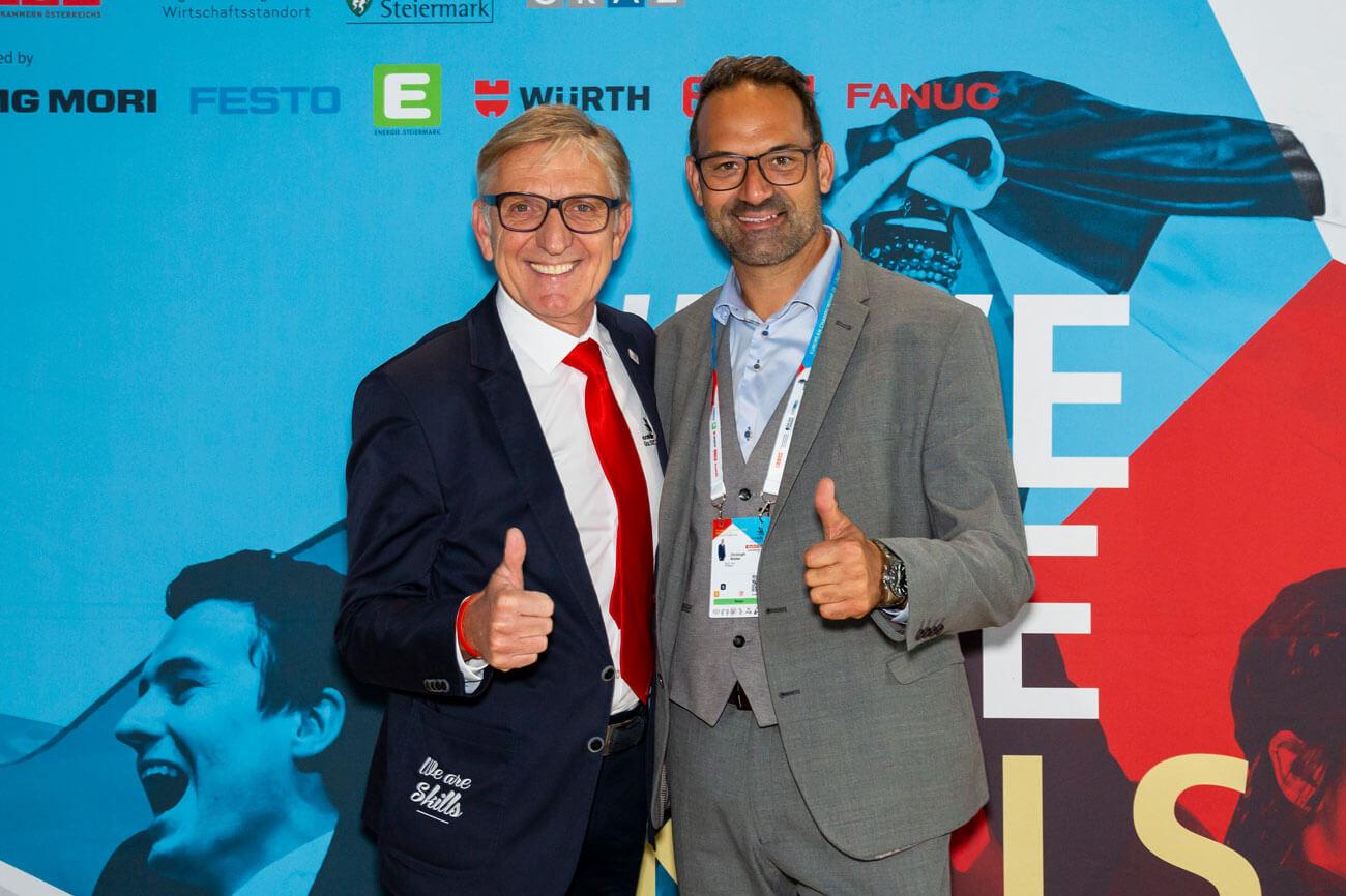 WK-Präsident Christoph Walser gratulierte Josef Herk (Präsident der WK Steiermark) zur hervorragenden Organisation.